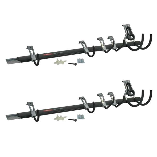 1784418 Rubbermaid FastTrack Garage Storage System 6 Piece Rail and Hook Kit (2 Pack)