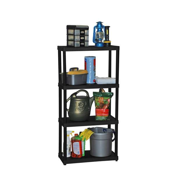 11 x GL91006MAXIT-1C-90 Gracious Living 4-Tier Resin Garage Storage Shelf, Black (11 Pack)