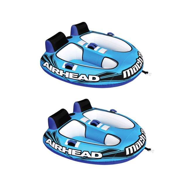 AHM2-2 Airhead Mach 2 Inflatable 2-Rider Water Towable Tube (2 Pack)