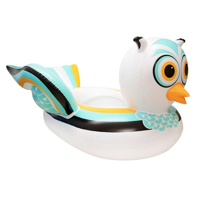 SL-90721M + SL-90719M Giant Ride able Owl Inflatable Float Bundled w/ Inflatable Ride On Swan Float 1