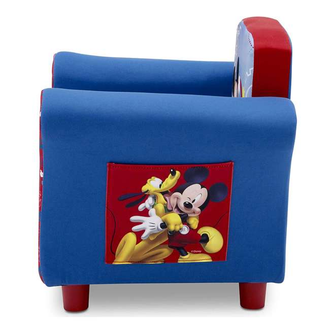 UP83509MM-1051 Delta Children Disney Mickey Mouse Upholstered Toddler Chair with Side Pockets 3