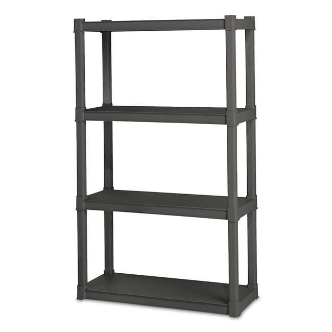 12 x 01643V01 Sterilite 4-Shelf Gray Shelving Unit, Flat Gray (12 Pack) 1