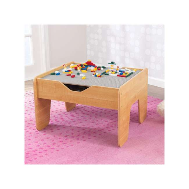 17506 KidKraft 2-in-1 Activity Play Table with Plastic Building Block Board, Natural 3