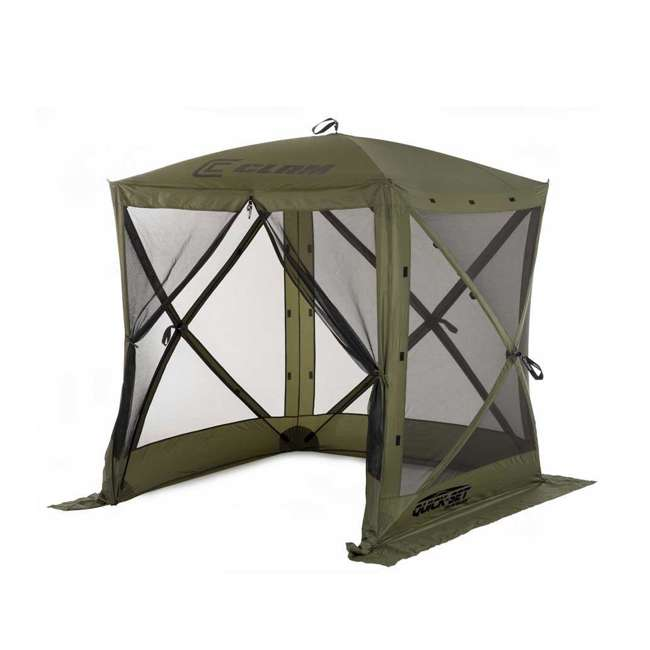 CLAM-TV-9870 + 2 x CLAM-WP-2PK-9896 Clam Quick-Set Traveler Shelter w/Wind Panels (4 Pack), Green 1