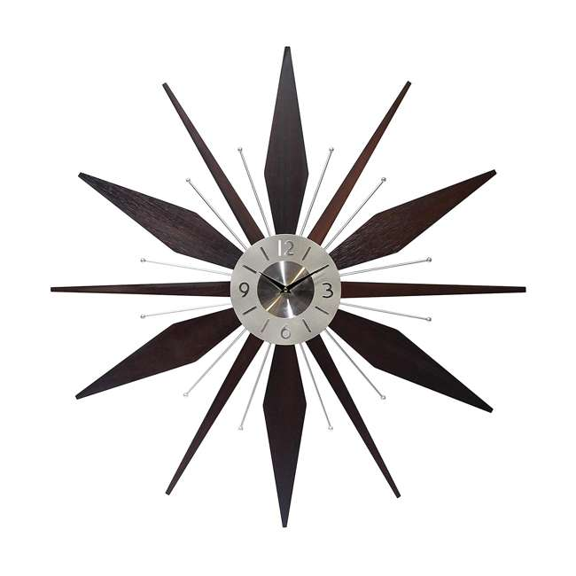 15201NT Infinity Instruments Sunburst Mid-Century Utopia Metal Wall Clock, Dark Walnut