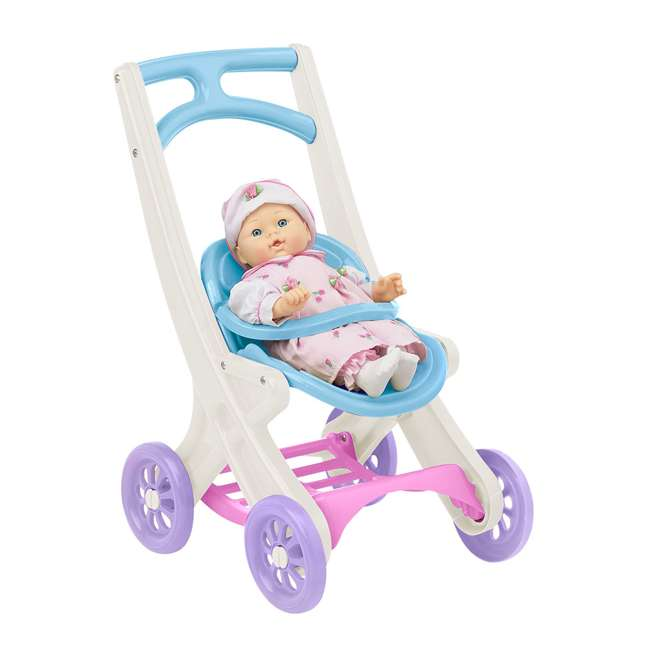 APT-20250-U-B American Plastic Toys Toddlers On the Go Baby Doll Stroller Buggy & Cradle(Used) 1