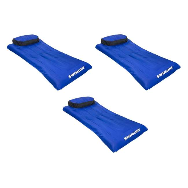 3 x 9057 Swimline 9057 Swimming Pool Inflatable Fabric Covered Air Mattress (3 Pack)