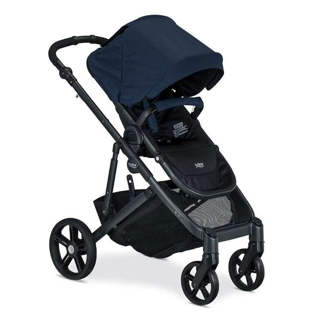 U911933 + S03634300 Britax Navy Folding Travel Canopy Baby Stroller with Black Snack Tray Accessory 1