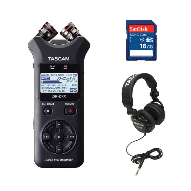 DR-05X + SD4-16GB-SAN + TH02-B Tascam Audio Recorder, SanDisk 16GB Memory Card, & Tascam Recording Headphones