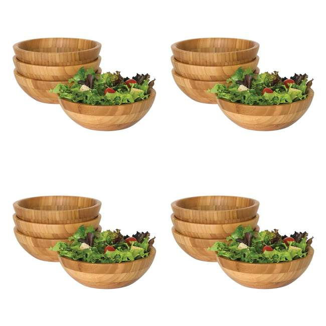4 x LP-8203-4pack Lipper International Bamboo Small Salad Bowls (16 Pack)