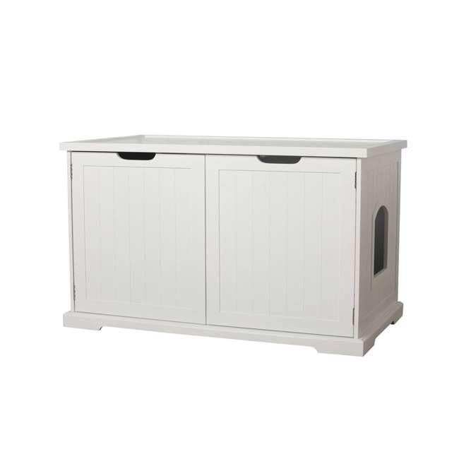 MPS010-U-D Merry Products Bench with Enclosed Cat Litter Washroom Box, White (Damaged) 8