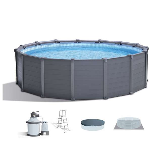 Intex 15 39 8 x 49 above ground swimming pool set w sand for Intex pool handler
