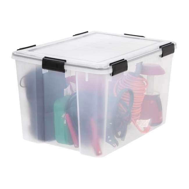 585855-4PK IRIS USA Weathertight 74 Quart Buckle Down Storage Box Container, Clear (4 Pack) 2