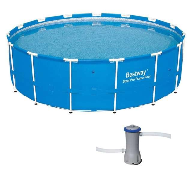 12752-BW + 58388E-BW Bestway 15 x 4 Ft Above Ground Pool w/Cartridge Filter Pump