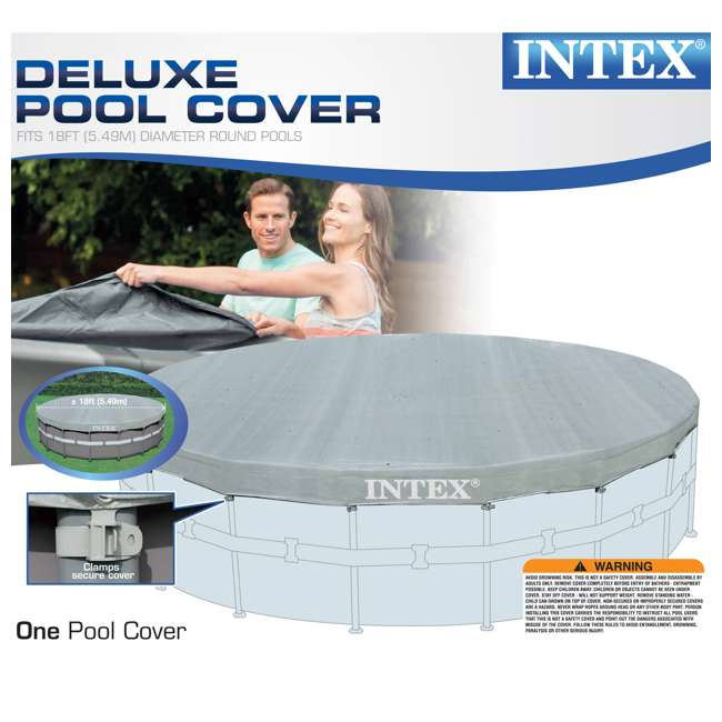 3 x 28041E-U-A Intex  Deluxe Pool Cover for 18-Foot Intex Ultra Frame Pool  (Open Box) (3 Pack) 5