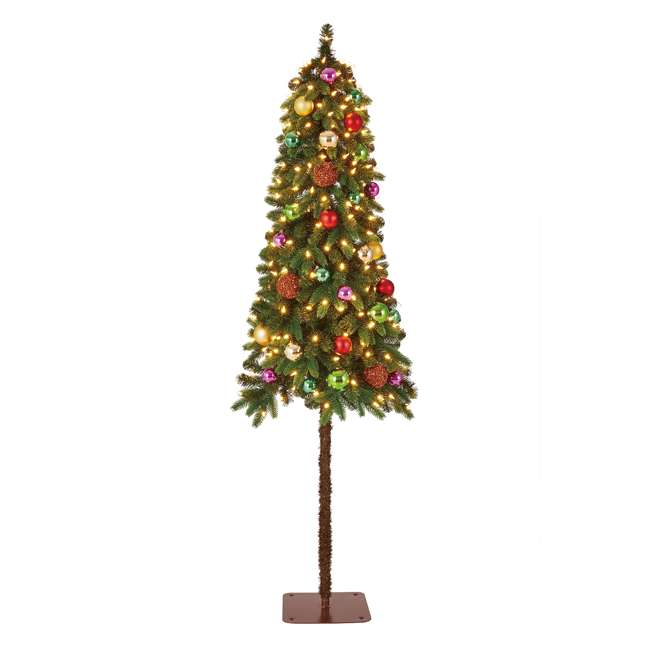 TV60P2819L00 Home Heritage True Bark 6 Foot Slim Artificial Christmas Tree with White Lights 1