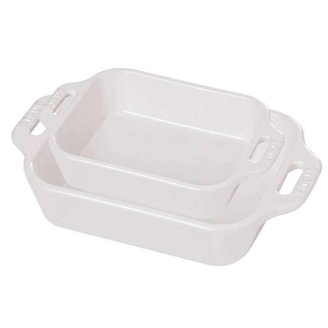 40508-626 Staub Ceramic 2-Piece Rectangular Baking Dish Set, White