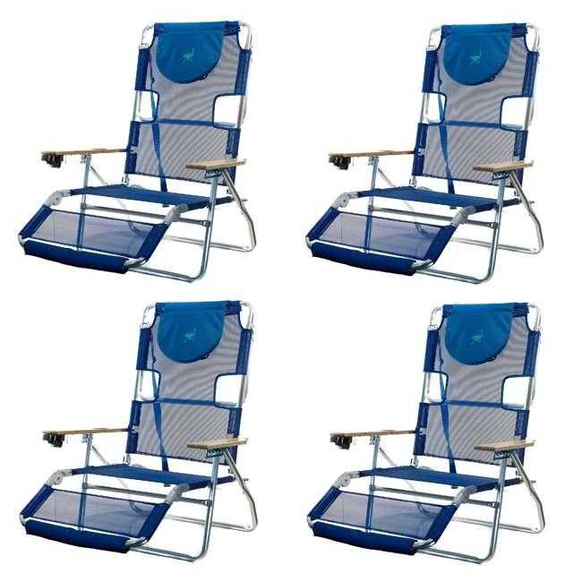 4 x 3N1-1001B Ostrich 3N1 Lightweight Aluminum Frame 5 Position Reclining Beach Chair (4 Pack)