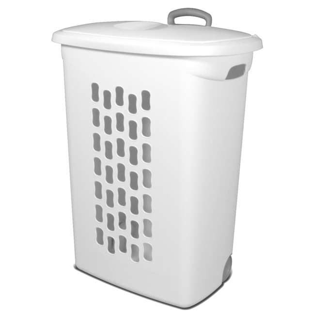 4 x 12228003 Sterilite White Laundry Hamper With Lift-Top, Wheels, And Pull Handle (4 Pack) 1