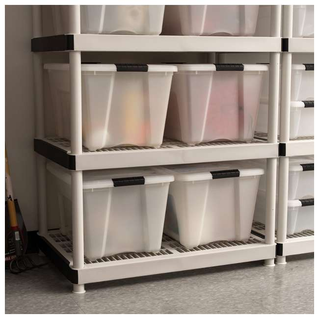 100299-6PK IRIS 53 Qt Stack & Pull Storage Lidded Container Box Bin System, Pearl (12 Pack) 4