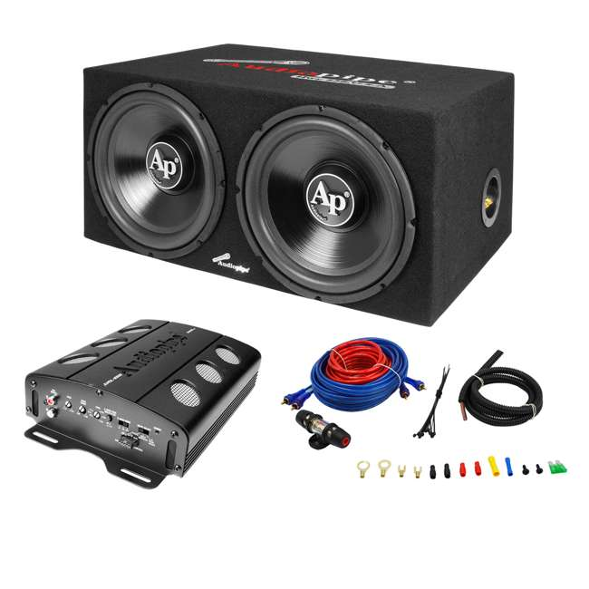 APSB-1299PP Audiopipe Loaded Dual 12s Amp Wire Kit Car Audio Combo Package