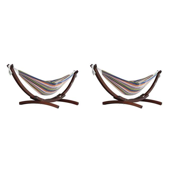 C8SPCT-31 Vivere Double Cotton 2-Person Hammock with Solid Pine Stand (2 Pack)