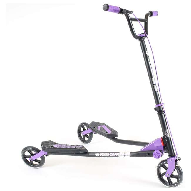 100607 Yvolution Y Fliker Carver C5 Kids/Adult Foldable Wiggle Drifting Scooter, Purple