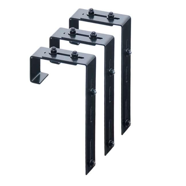 MO-3833 Mayne Adjustable Deck Rail Porch 3 Piece Bracket for Window Box Planter, Black