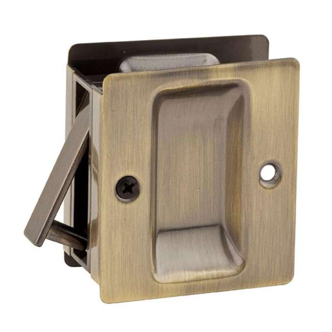 93320-002-U-A Kwikset Notch Closet Sliding Door Pocket Lock, Antique Brass (Open Box)