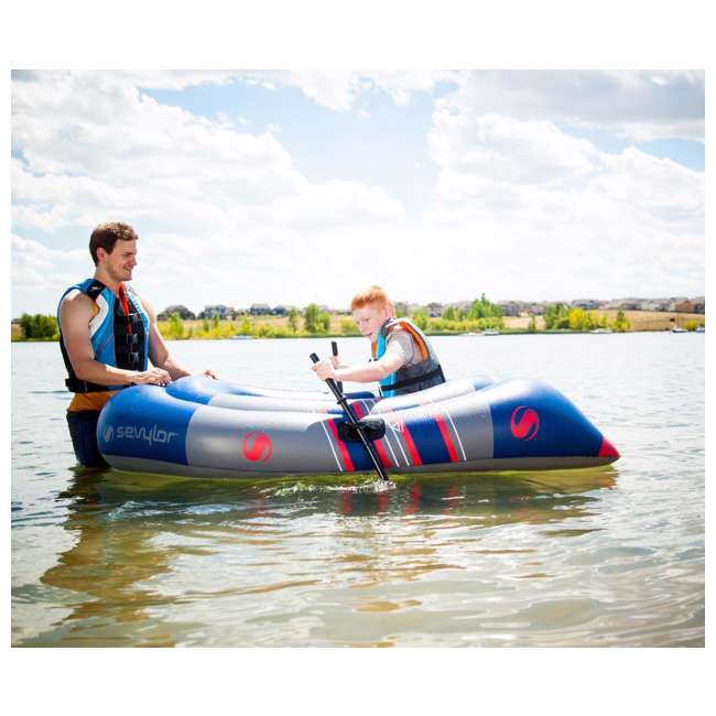 4 x 2000014138 Sevylor Colossus 2 Person Inflatable Boat Raft with Oars (4 Pack) 3