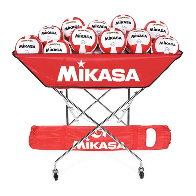BCH-SCA Mikasa BCH Collapsible Hammock Volleyball 24 Ball Cart,Scarlet