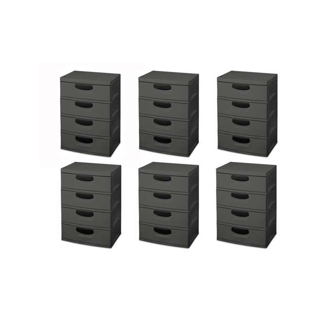 6 x 01743V01 Sterilite 4-Drawer Storage Unit (6 Pack)
