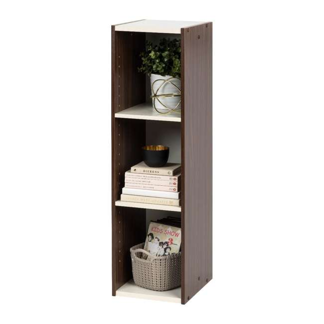 596307 IRIS USA 596307 Space Saving Adjustable Stackable Shelf Organizer, Walnut Brown 1