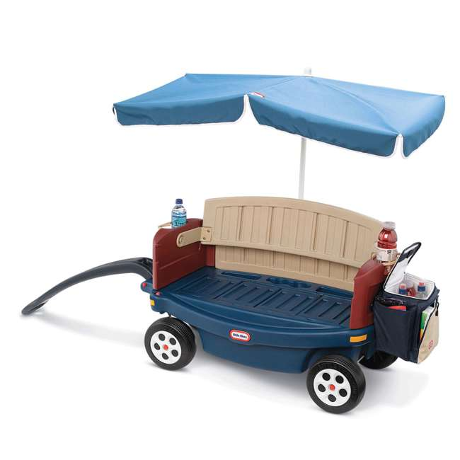 618031M-U-B Little Tikes Kids Ride and Relax Toy Pull Wagon with Umbrella and Cooler (Used) 2