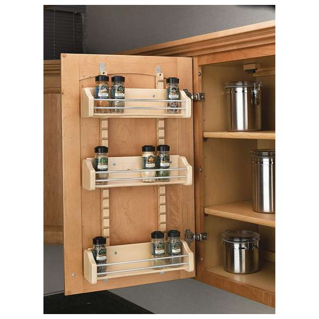 4ASR-18 Rev-A-Shelf 4ASR-18 Medium Cabinet Door Mount Wood Adjustable 3-Shelf Spice Rack 1