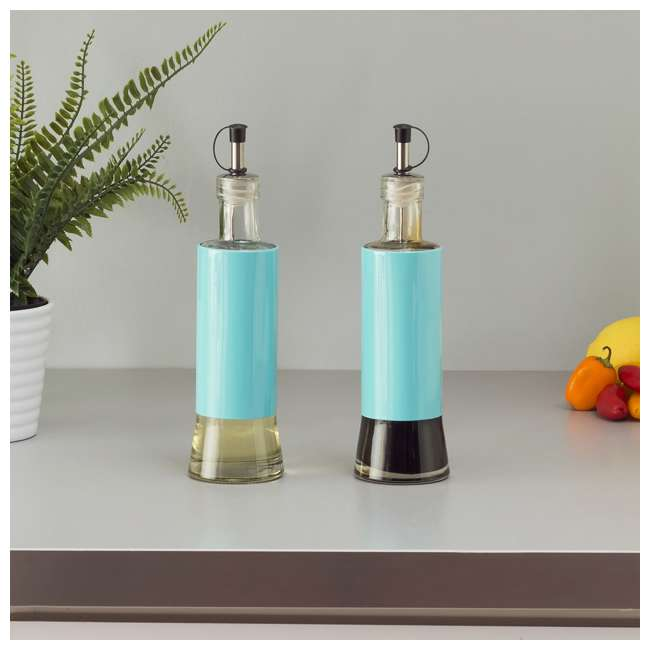 OV44972 Home Basics Essence 2-Piece Oil and Vinegar Set, Turquoise 1