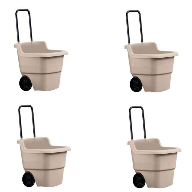 4 x LC1250D Suncast 15 Gallon Poly Multipurpose Rolling Lawn and Garden Cart, Taupe (4 Pack)