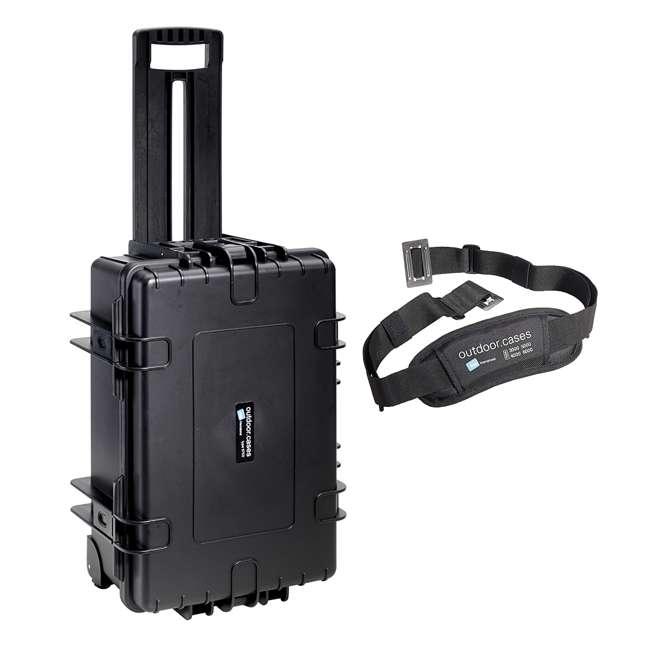 6700/B/SI + CS/3000 B&W 42.8L Plastic Waterproof Case w/ Wheels, Foam Insert & Shoulder Strap, Black