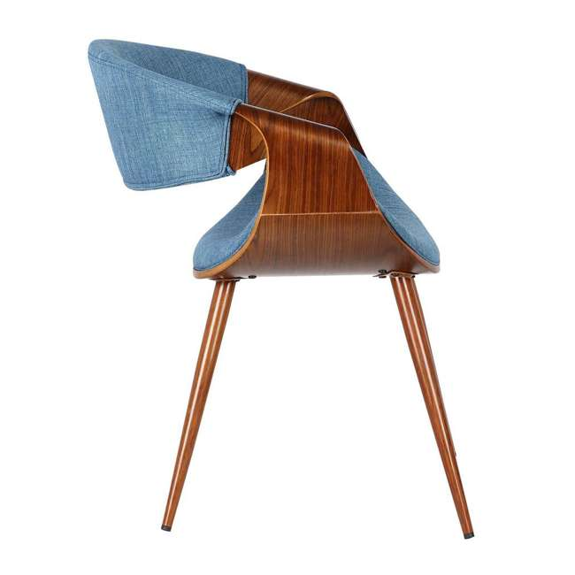 3 x LCBUCHWABL Armen Living Blue Fabric and Walnut Wood Finish Mid Century Dining Side Chair (3 Pack) 4