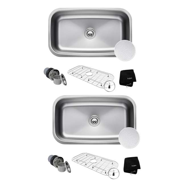 KBU14E Kraus Outlast 31.5-Inch Stainless Steel Undermount Single Bowl Sink (2 Pack)