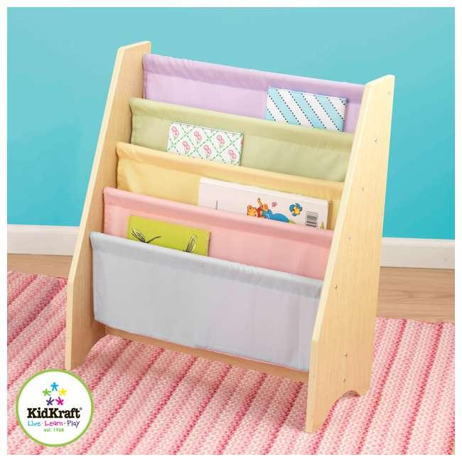 14225-U-D KidKraft Wood & Canvas Sling Shelf Kids Book Case Shelf - Pastel (Damaged) 2
