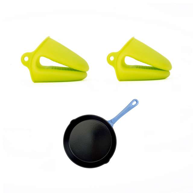 AI23790 + HAR111 Hamilton Beach Silicone Pot Holder Mitts + 12-Inch Enameled Cast Iron Fry Pan