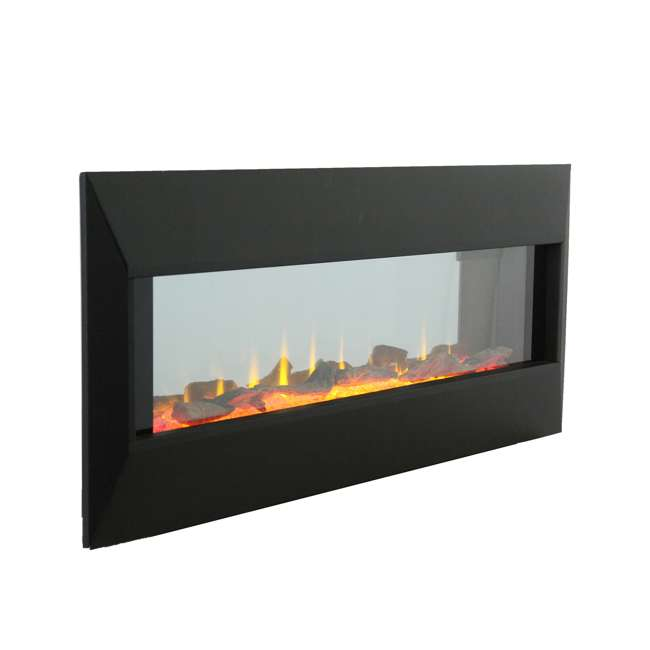 HW93233SMQR Lifesmart HW93233SMQR 42 Inch Infrared Wall Mount Electric Fireplace, Black 2