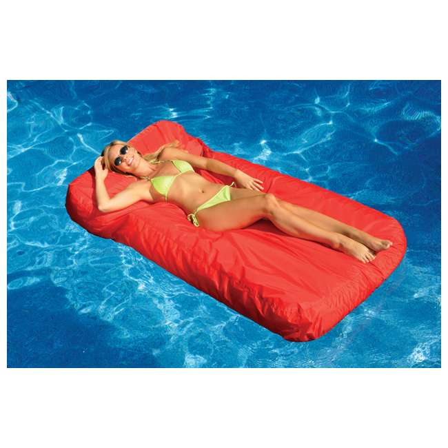 6 x 15030R-U-A Swimline SunSoft Swimming Pool Inflatable Fabric Lounger Red (Open Box) (6 Pack)