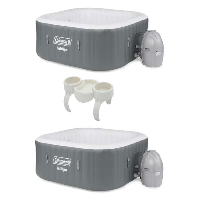 15442-BW + 58416-BW Coleman 4 Person Portable Inflatable Hot Tub (2 Pack) & Plastic Drinks Holder