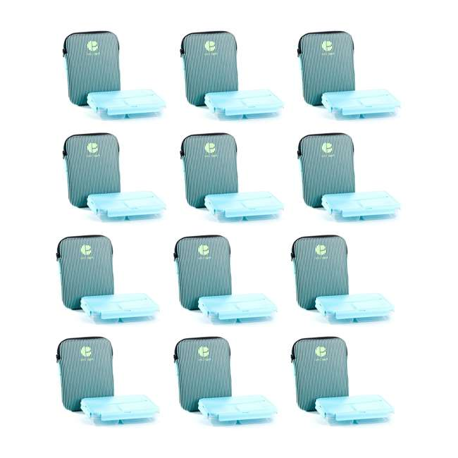 12 x L1009 Life Story Lunch Box Container with Insulated Sleeve (12 Pack)