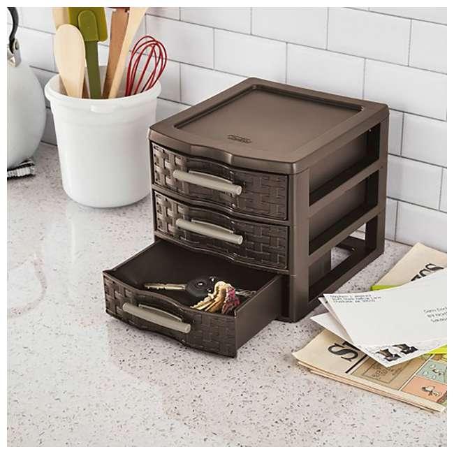 8 x 23436P04-U-A Sterilite Medium Weave Craft 3 Drawer Storage Organizer, Brown(Open Box)(8 Pack) 1