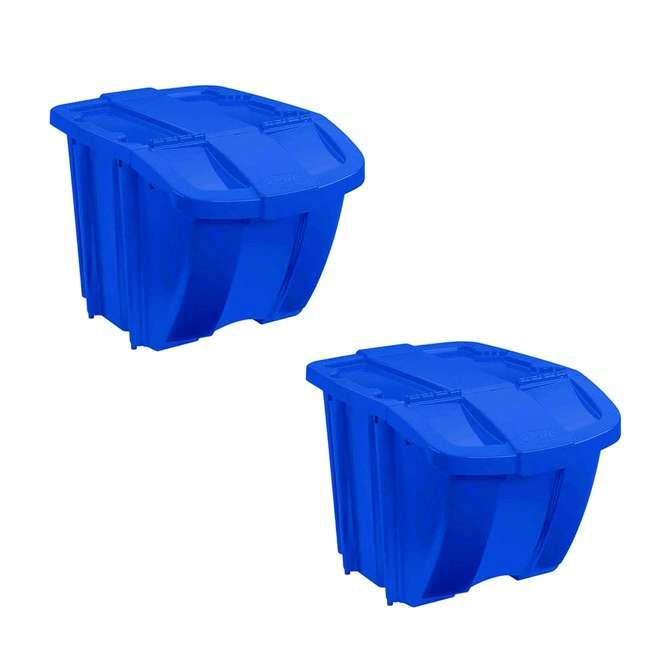 BH181212 Suncast 18 Gallon Stackable Resin Home Recycle Storage Bin w/ Lid, Blue (2 Pack)
