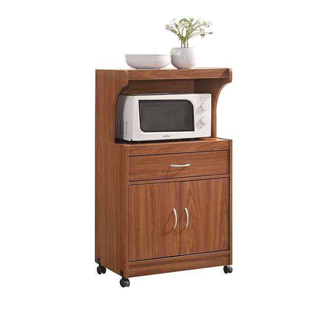 HIK72 CHERRY Hodedah Kitchen Dining Room Microwave Shelf Storage Cart with Wheels, Cherry