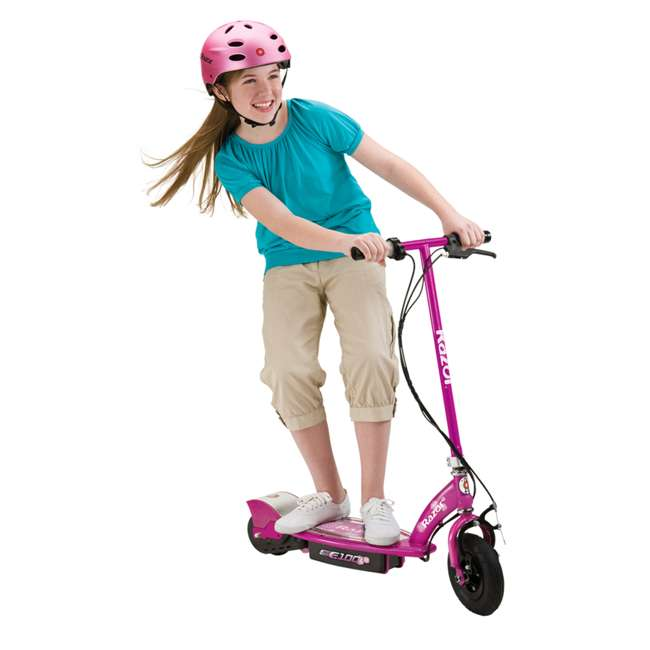13111230 + 13111263 Razor E100 24 Volt Electric Powered Ride On Scooter, Green & Pink (2 Scooters) 6